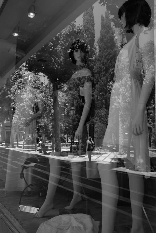 Display window and woman